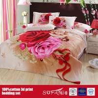 Printed Home Hotel Use 3D Cotton Bedding Set