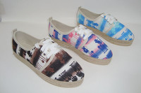 customize women's shoes beach scene painting designs espadrille shoes 2.0cm high women's lace up pumps