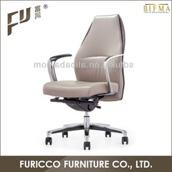 Good Quality Italy Imported Grey Leather Manager Office Chair
