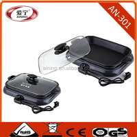 Energy Saver Non-stick Coating Electric Grill With Tempered Glass Lid