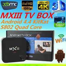 Original MXIII Android 4.4 4K Kitkat Amlogic S802 Quad-Core MXIII TV BOX 1GB/8GB Google MX3 2.4/5GHz Dual Brand WIFI