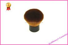 Pvirate label kabuki brush wooden handle brown hair