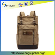 Fashion vintage washed cotton canvas backpack with leather trim in customize style wholesale