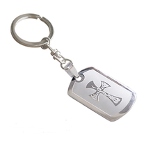 Yiwu Aceon Stainless Steel blank dog tag etch engraved cross key chain