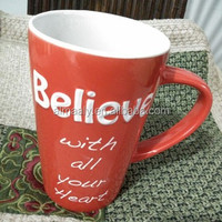 big volume cup, red colored letter mug