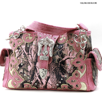 COWGIRL WESTERN CAMO RHINESTONE BUCKLE CONCEALED WEAPON HANDBAGS PURSES