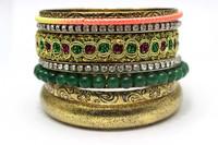 New Product Ideas Green Stone Beaded Handmade Vintage Indian Set Wholesale Bracelet Jewelry