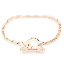 """European Charm Bracelets Toggle Clasp Snake Chain Lobster Clasp Rose Gold 18.2cm(7 1/8"""") long,5PCs"""