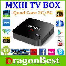 New H.265 Amlogic S802 Quad Core Google Android 4.4 Smart TV Box XBMC mx3 android MXIII tv box