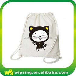 Custom logo printed canvas backpack drawstring bags