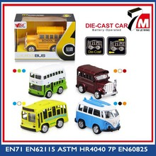 Mini tire hacia atrás a - fundido a presión bus con luz de la música escala modelo de autobús de juguete
