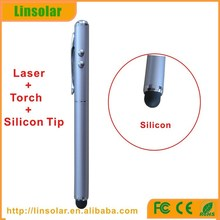 Metal body and silicon tip Material and Mobile Phone,Tablet Use 3 in 1 led laser pointer smart phone touch pen