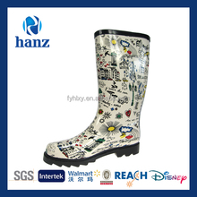 Ladies White Rain Boots Designer Printed Upper with High Quality Wholesale
