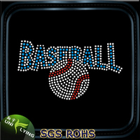 Custom bling baseball hotfix motif designs