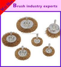 custom brass wire cup brush with shank