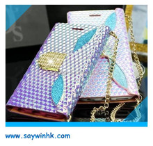 High quality artificial rhinestone mobile phone case with card holder