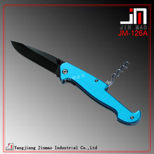 Aluminum Handle Black Coated Blade Gift Knife With Wine Opener