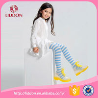 Blue-white striped cotton pantyhose wholesale custom cheap thin girls running compression tights