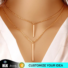 aaa replica jewelry artificial gold long imitation necklace double layer rectangular metal bar tassel chain