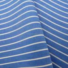 Cotton yarn dyed white and blue striped fabric
