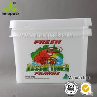 manufacture wholesale rectangle 3.7L plastic bucket with lid and handle for food or chemical packing