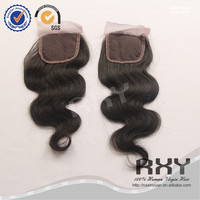 12 14 16inch cheap body wave middle parting hidden knot silk swiss lace closure pieces