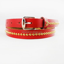 full grain leather thin red woman jeans belts with stud