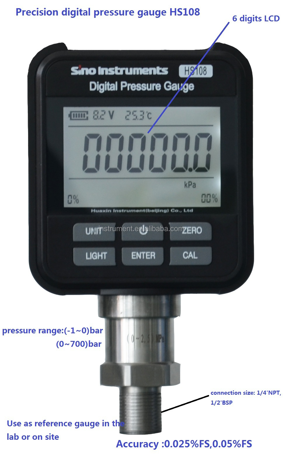 Precision Pressure Gauges : Hs china digital pressure gauge precision