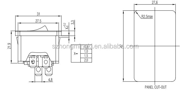 AC розетка с предохранителем и НА/выключения + жильный кабель