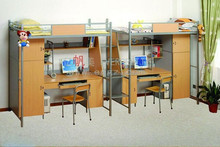 Fashionable School Student Classroom Single Metal Frame Bunk Bed with Desk
