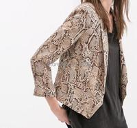 Женская мода элегантный змея кожи печати длинным рукавом куртки пиджаки, карманы верхней одежды костюм случайные тонкий брендовые дизайнерские пальто w3-007