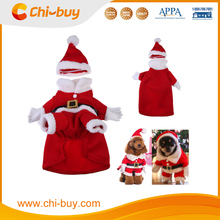 Puppy Dog Stereoscopic Santa Clothes Hoodie Costume Apparel Outwear Pet Christmas Coat Red