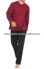 hombres pijama a rayas placket wiht abierto