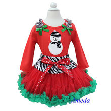 Christmas Zebra Red Green Pettiskirt Zebra Snow Man Red Long Sleeves Top Pettidress 1-7Y