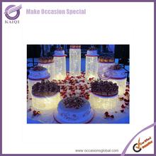 k7030 European design 5 Tier Sparkle Crystal Metal Cake Stand for Wedding Cakes