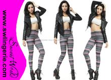 Leggings Bright Pink Pope Wave Tattoo Lines skinny Digital Women