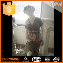 PFM Chinese handmade vivid indoor sculpture marble lady statue with lamp