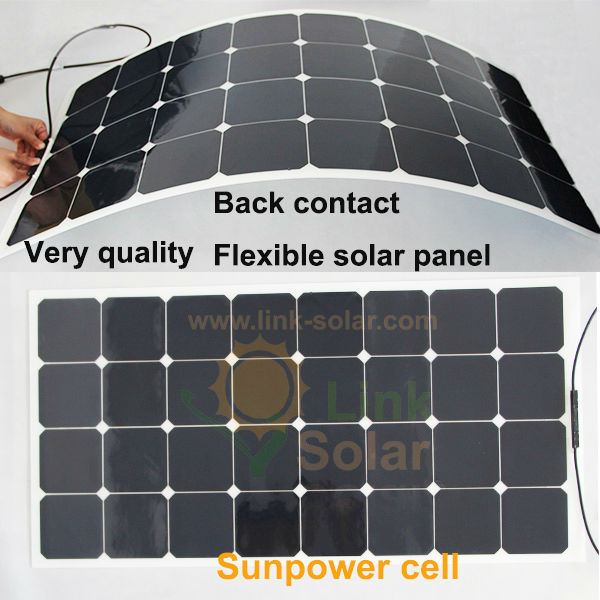LINKSOLAR A grade/ B grade 100W Sunpower MONO Semi Flexible Solar Panel for RV BOAT CARAVAN