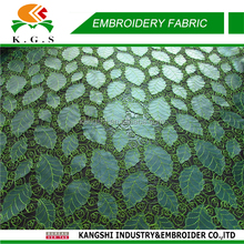 2015 new coming african lime green lace fabrics with leaves design lace, wedding dress for party