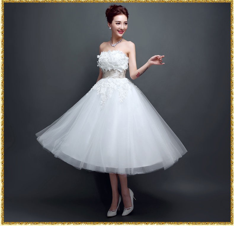 High-end New Style Evening Bride Dress Midi Style Lace Wedding Dress ...