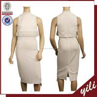 Party wear white color simple design sleeveless wrap bodycon midi knit dress WD150432055