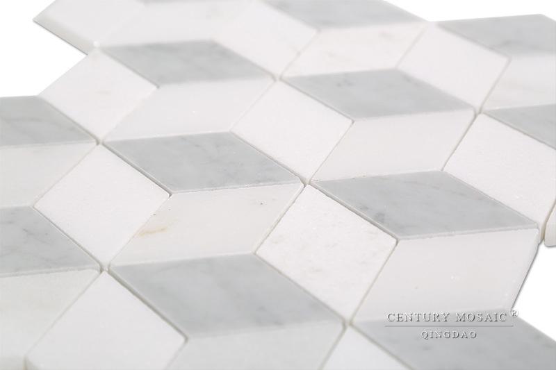 Salle de bain d cor design italien marbre blanc de carrare for Carrelage losange