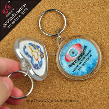 Top selling products in alibaba Transparent plastic round clear acrylic keychain