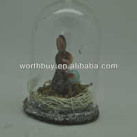 decorative glass dome for Easter with bunny & egg