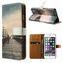 Print the Road of Dock with Card Holders Cell Phone PU Leather Wallet Cases For iPhone 6/6 Plus, Accept Paypal