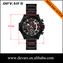 2015 quartz chronograph movement waterproof date watch with stainless steel band