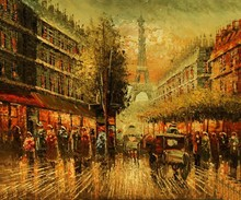 new handmade paris building wall art canvas oil painting factory direct