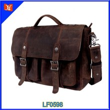 Hot Selling Occident Style real crazy horse leather men shoulder bag wholesale