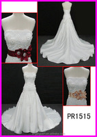 2015 guangzhou fashion corset back satin organza strapless A-line wedding dresses with diamond beaded belt/sash PR1515