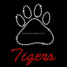 A claws of a tiger with clear and red rhinstone transfer for t-shirt